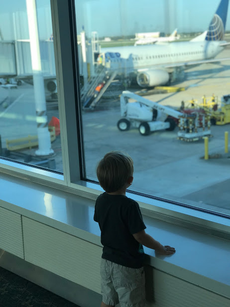 looking out at a plane