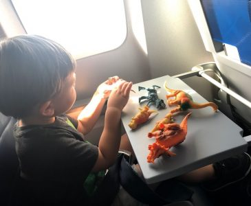playing with dinosaurs on the plane